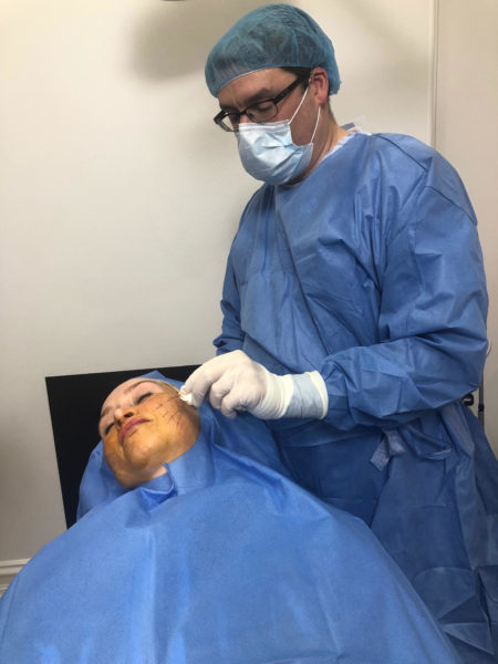 Our doctor is performing an anchoring threadlift